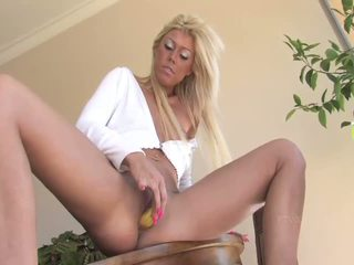 Tiffany angelic blonde playing with pussy and masturbating with a banana