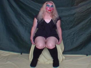 Blonde in Boots Nervous to Open Legs and Show Pussy...