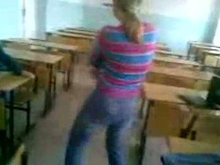 Nasty Schoolgirl Stripping In Classroom