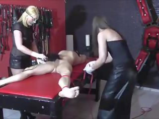 German Cock and Ball Torture with 2 Femdoms: Free Porn a2