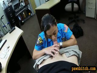 Police officer pawns her twat and railed in the backroom