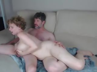 Redhead Pale Skin MILF with Big Natural Boobs Fucked on