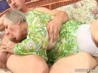Fat granny with saggy tits bangs with young fuck buddy