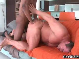 Muscled gay bear sucks large black gay