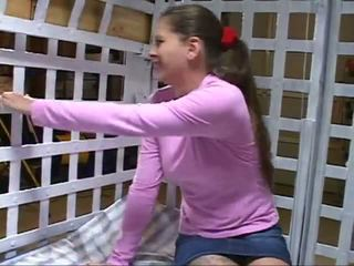 Pink Shirt Woman in Cage, Free Bondage Porn 6a