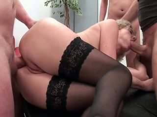 Hot granny taking 3 Cocks in Mouth Ass and Pussy