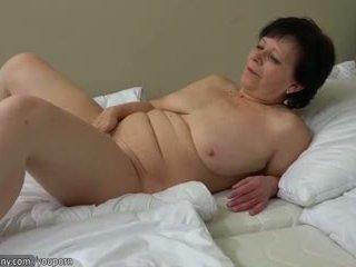 bröst, gammal, onanera, granny