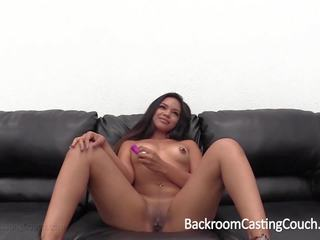 Anal Creampie for Black Asian Babe on Casting Couch...