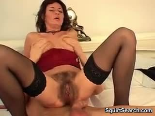 Hairy Mature Slut Fucking And Squirting