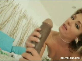 brunette, ass fuck, huge dildo