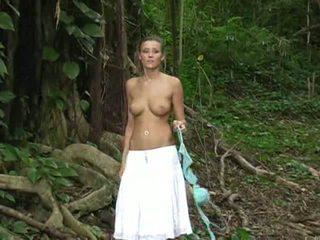 beautiful blonde girl public posing