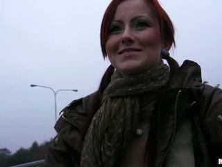 Redhead Belinda asshole railed for cash