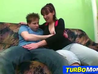 Hirsute housewife Karin sex with a teen boy