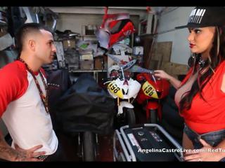 Angelina castro takes cumload -ban bike garage!
