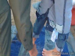 Filthy border patrol surveys a Latina teens coochie