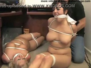 2 busty secretaries hogtied and gagged