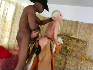 Nasty cowgirls ass ripped by black cock