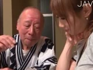 日本, 孩儿, 老+年轻, 铁杆