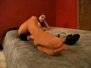 Busty chick enjoys wearing pantyhose