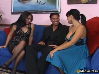 Busty MILFs share thick cock