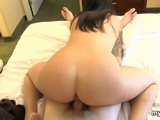 Teen plays with enormous dildo