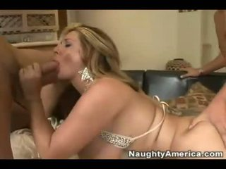 Titted hot mom Summer Sin gets double jizzed on her huge meat bags