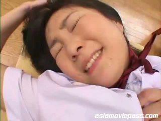kwaliteit japanse vid, mooi schoolmeisje scène, vers behaard video-
