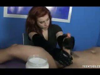 controleren handschoenen vid, echt handjobs, zien cumshot neuken