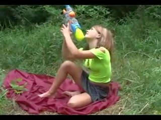 sexy teen squirts outdoors
