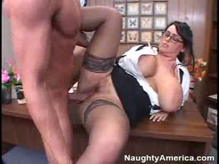 óculos real, grandes mamas, agradável escritório verificar