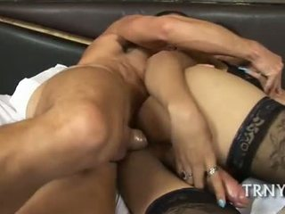 Tranny meets monster cock