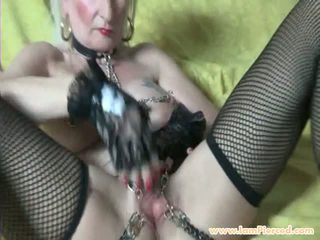 I Am Pierced Granny with Pussy Piercings and Chains...