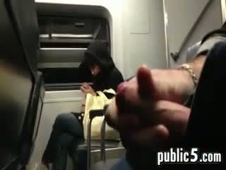 Flashing Cock On The Train