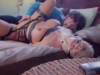 dubbele penetratie kanaal, kijken rondborstige tiener, trio video-