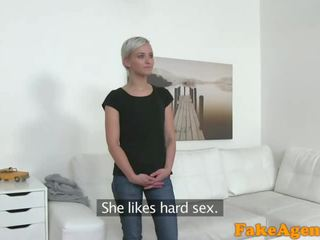 Fake Agent Hot short haired blonde model fucked doggy style on desk