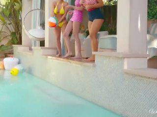 When Girls play -Poolside threesome with Abigail Mac, Ariana Marie, Nicole