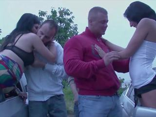 Public Orgy with 2 Horny Girls Fucked by Strangers in a