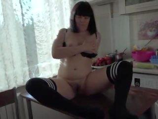 Brunette doggy style fucks anal huge zucchini to orgasm, beautiful gaping hole.