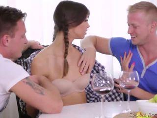 Virgin Marisa looses virginity with two guys