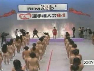 Subtitled ใหญ่ ชอบนู้ด กลุ่ม ของ ญี่ปุ่น ผู้หญิง stretching