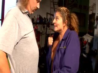 German Mature Slut hard fuck with a mechanic in his garage