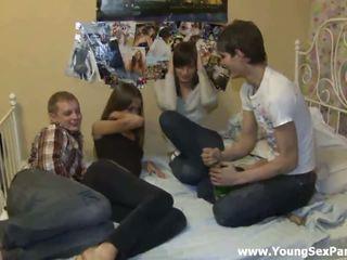 Foxy drunken teens having wild foursome hardcore sex