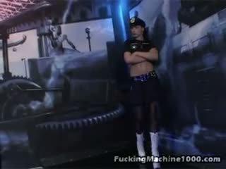 Hot security guard copulates mechanic fake pénis