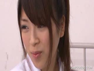 Jap College Girl rubbing quim