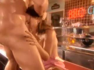 Vies diner babe kristina rose takes lul in haar kut op de cafe counter