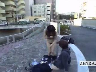 Subtitled extrémní japonská veřejné nudity venkovní výstřik