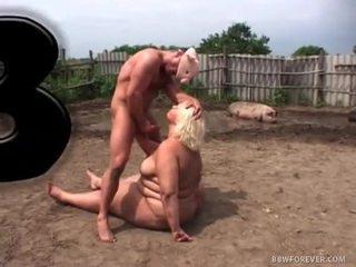 Dirty BBW Fucking in pig Field
