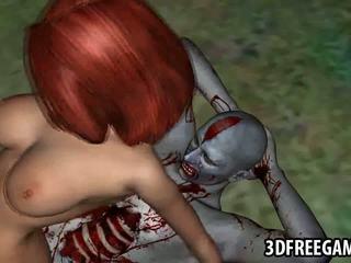 3d tekenfilm roodharige babe gets geneukt door een zombie