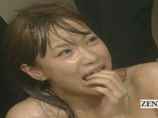 Subtitled enf cmnf क्रेज़ी जपानीस कम spattered टीचर