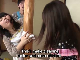 Subtitled japoniškas risky seksas su voluptuous motina į